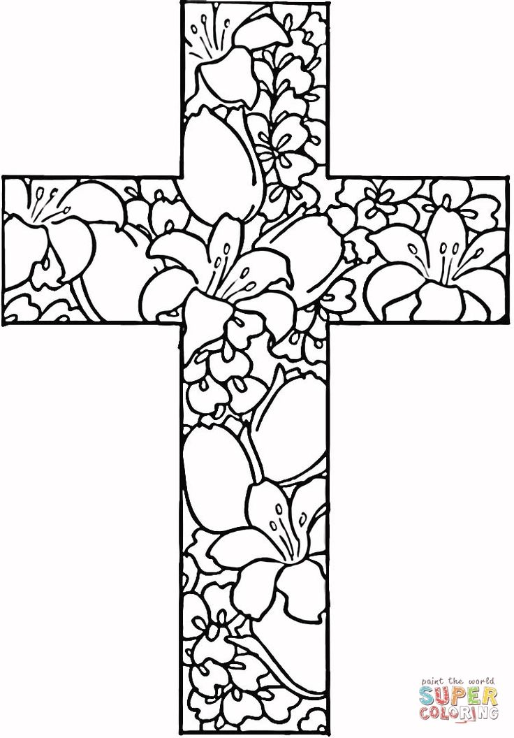 flowers-in-cross-coloring-page / supercoloring.com