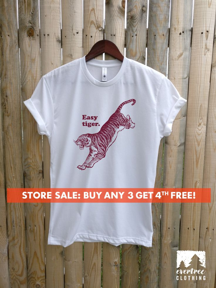 Easy Tiger T-shirt, Ladies, Mens Graphic Tee, Animal T-shirt, Hipster Tiger Shirt