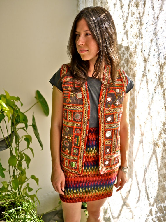 Vintage Indian Mirror Vest with Embroidery by PrismOfThreads, $78.00
