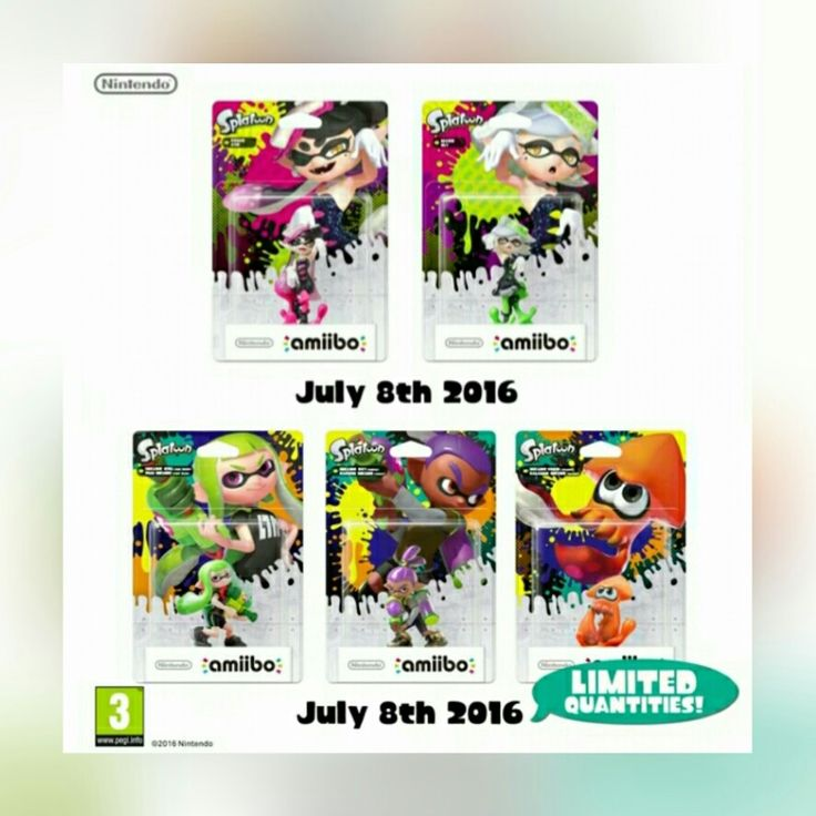 New Splatoon amiibo, avaiable July 8th. Squid sisters and squid girl, squid boy and orange sqyid limited edition!!!