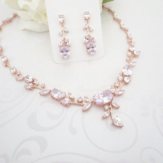 Wedding jewelry Set Rose Gold Bridal necklace by TheExquisiteBride