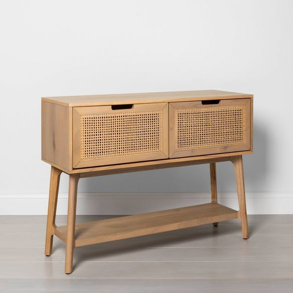 Wood Cane Console Table With Pull Down Drawers Hearth Hand With Magnolia Console Table Wood Hearth
