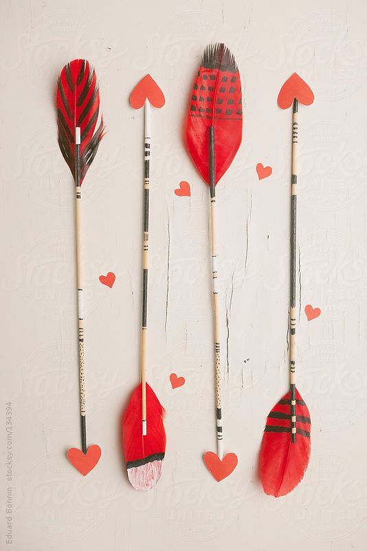 Arrows with red hearts. Valentine's day
