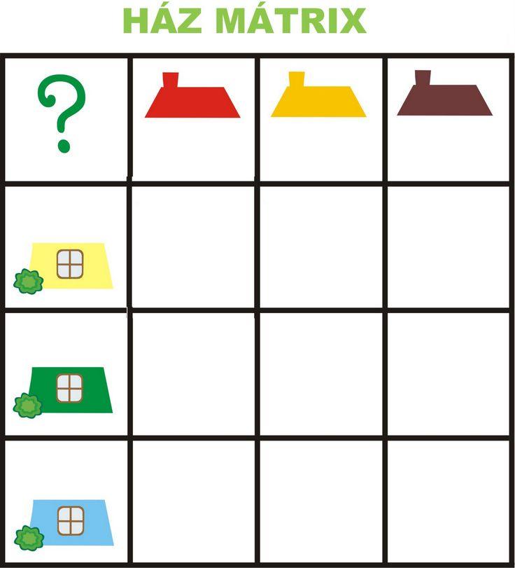 Matrix 1 thema huizen voor kleuters, free printable
