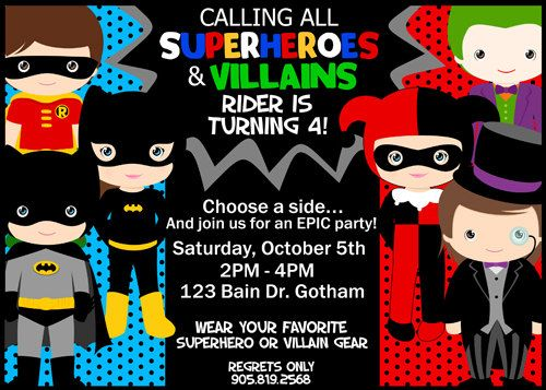 SUPERHEROES vs VILLAINS Birthday Invitation by SewKawaiiKids