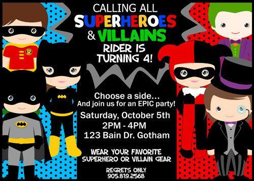 SUPERHEROES VILLAINS Invitation Superhero and by KawaiiKidsDesign