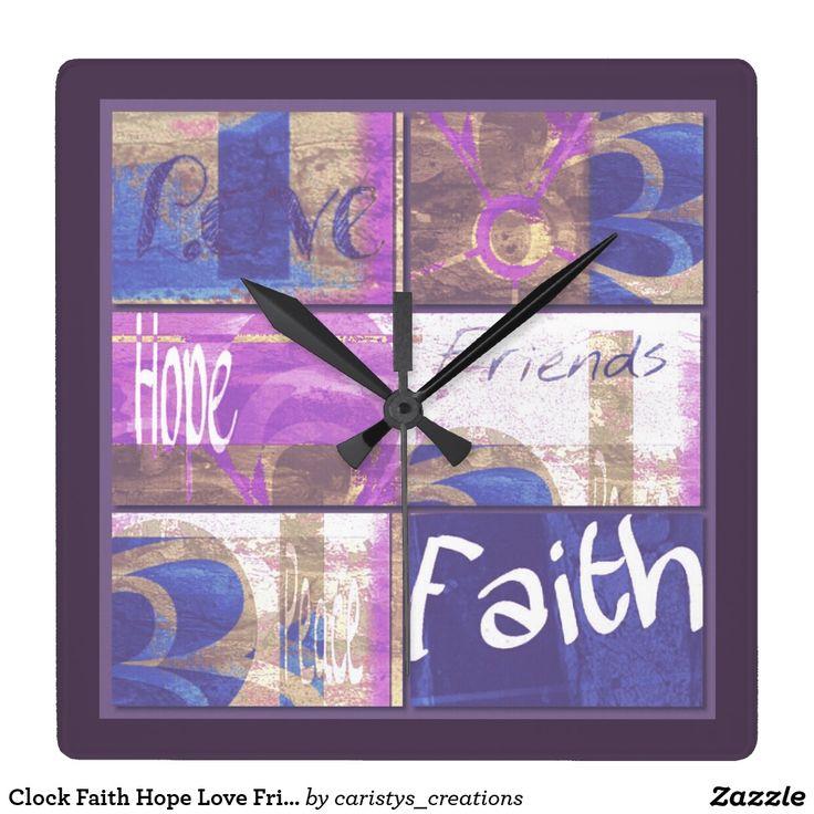 Clock Faith Hope Love Friends (Mauve tones)