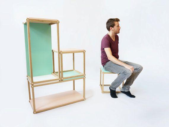 Stacks shelving furniture - multi function al stackable shelving - open bookshelf - bookcase - box - room divider - open wall furniture seat
