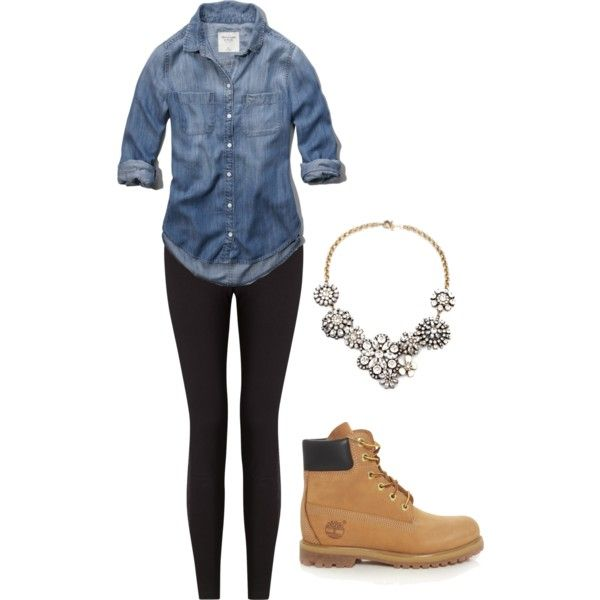 Timberlands by keileeen on Polyvore featuring Abercrombie & Fitch, Lyssé Leggings and Timberland