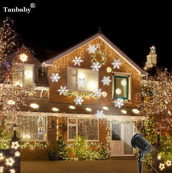 number 4 laser projector waterproof moving snow snowflake laser spotlight christmas - Laser Projector Christmas Lights