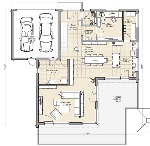 Grundriss einfamilienhaus modern ebenerdig  Die besten 25+ Haus mit garage Ideen auf Pinterest | Garage mit ...