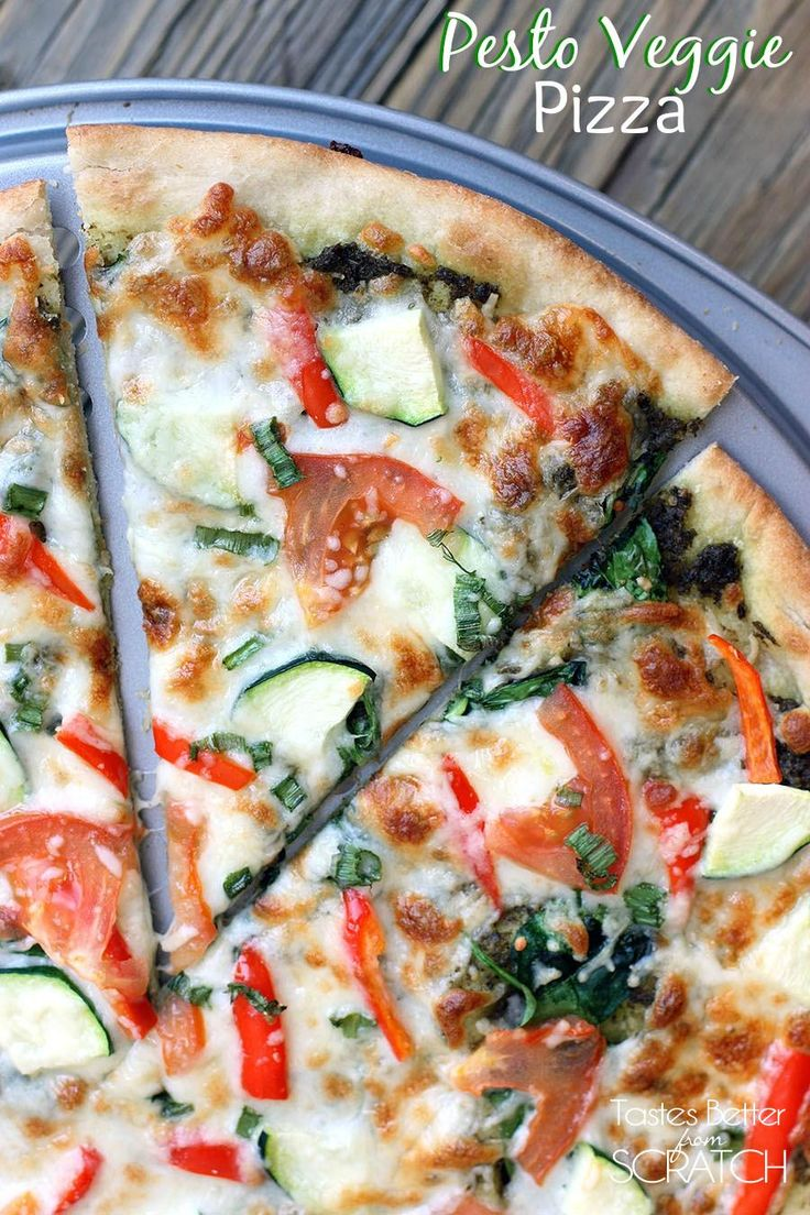 Pesto Veggie Pizza recipe on TastesBetterFromScratch.com