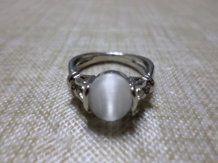 Bella's...Silver Plated Metal Replica Moonstone Ring...