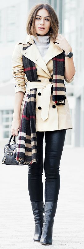 Lydia Lise Millen is a picture in Burberry chic, matching this beige trench coat and tartan scarf with a gorgeous cashmere turtle neck sweater and tight black jeans. The beauty of this look is in it's simplicity! Via Just The Design.  Coat/Scarf: Burberry, Denim: Citizens of Humanity, Knit: The White Company, Bag: Balenciaga, Boots: Chloe.
