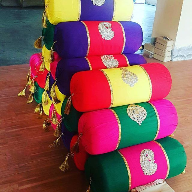 Colorful Bolsters & Pillows for Mehandi Party #partytents #partyprops #celebration  #weddingideas #bolster #color follow us @tentmahal
