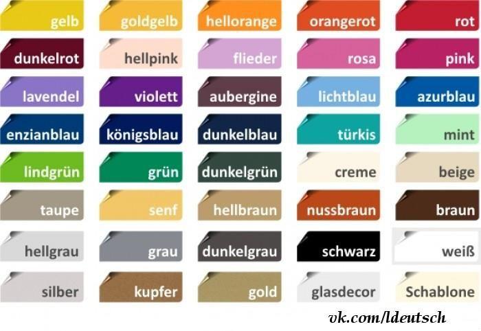 Los colores en alemán