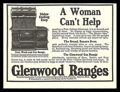Cast Iron Plain Glenwood Range Coal Wood Gas 1914 Antique Kitchen Stove AD