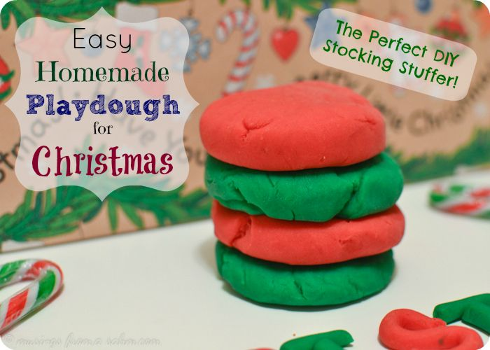 Easy homemade playdough recipe - perfect DIY stocking stuffer and Christmas gift for kids! Frugal, easy, non-toxic