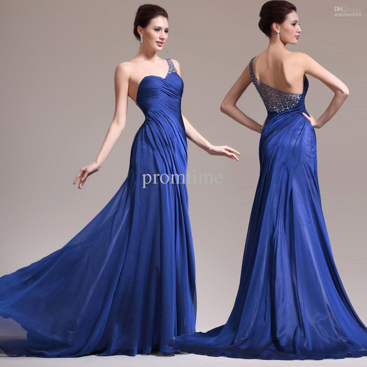 Evening Short Dress 2014 Elegant A Line One Shoulder Gorgeous Beaded Back Designer Long Royal Blue Chiffon Evening Dresses Evening Gowns Jk58 Occasion Dresses From Promtime, $113.58| Dhgate.Com