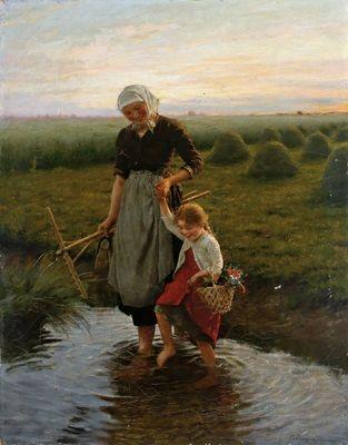 """""""Heimkehr nach getaner Arbeit"""" von Carl von Bergen (geboren am 8. Dezember 1853 in Cuxhaven, gestorben am 29. Januar 1933 in München), deutscher Maler."""