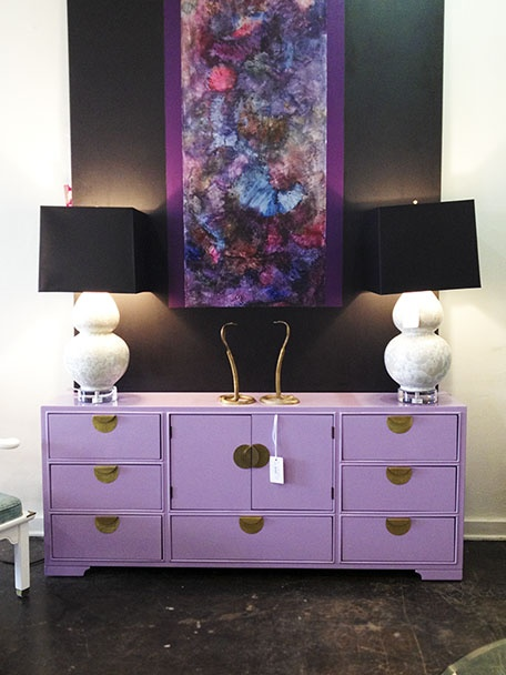 Lavender Lacquer Dresser with Gold Pulls