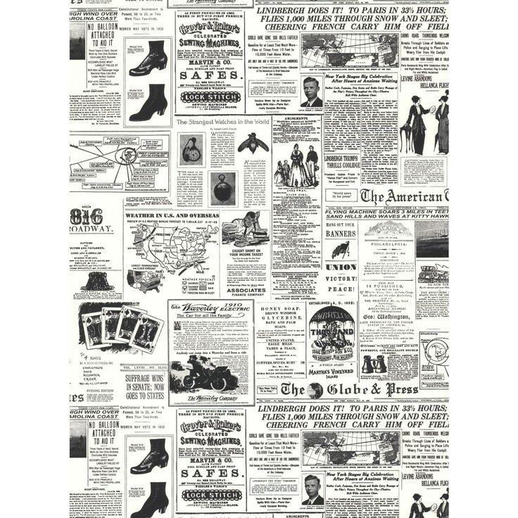 York Wallcoverings Black & White Headline News Wallpaper in White, Black