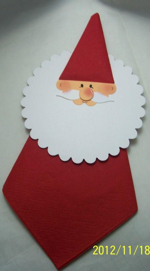 Het rode servet ( vliegervorm gevouwen) is het lijf van de kerstman. Baard van een taart kleedje of een rond wit vouwblaadje.