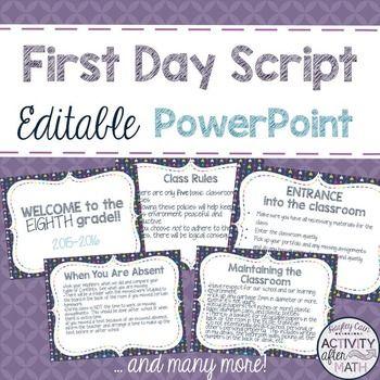 First Day Script in an Editable PowerPoint!... by Hayley Cain - Activity After Math | Teachers Pay Teachers