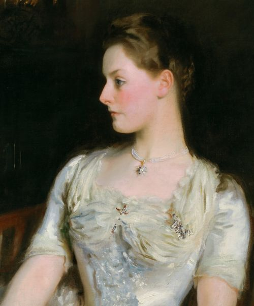 Details from John Singer Sargent's incredible portraits of:  Lady Helen Vincent, Viscountess d'Abernon (1904), Mrs. Cecil Wade (1886),Mrs. Joshua Montgomery Sears (Sarah Choate Sears) (1899), Madame X (Madame Pierre Gautreau)(1883–84), andElizabeth Winthrop Chanler (Mrs. John Jay Chapman) (1893)