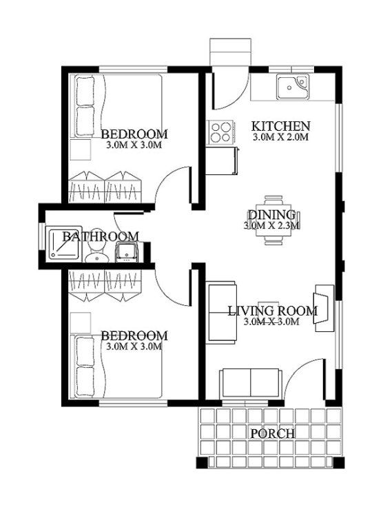 Shd 20120001 Is My First Post For Category Small House Designs This Floor Plan Has 2 Bedrooms