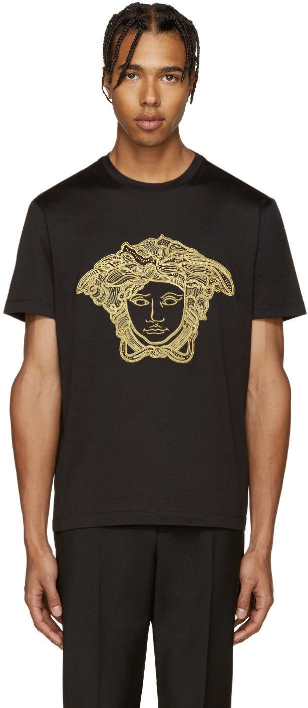 Slim Embellished Medusa Cotton T Shirt Black Silver In Black Gold Shirts Versace Men Versace