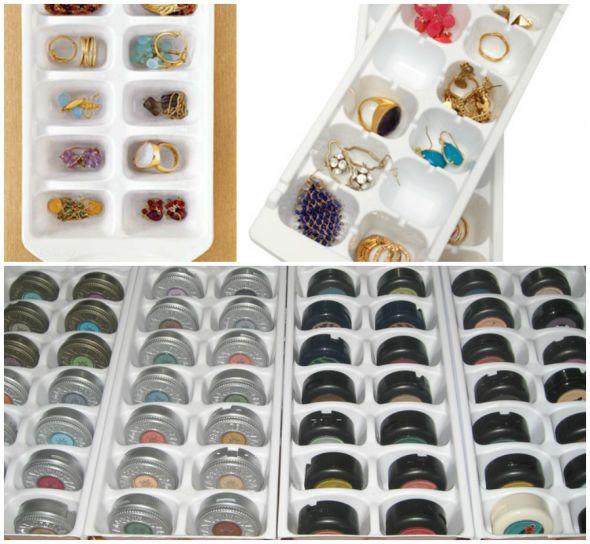 Organizando bijuteria e makeup com forma de gelo