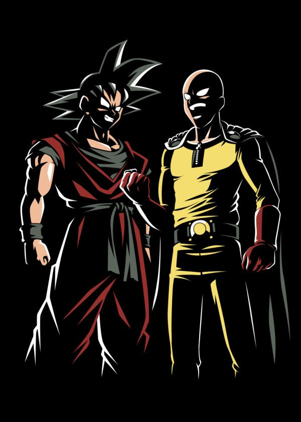 Two Hero Poster By Alberto Perez Displate One Punch Man Anime Saitama One Punch Man Saitama One Punch