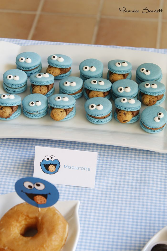 COOKIE MONSTER MONSTRUO DE LAS GALLETAS MESA DULCE DESSERT TABLE CANDY BAR CAKE CUPCAKES MACARONS