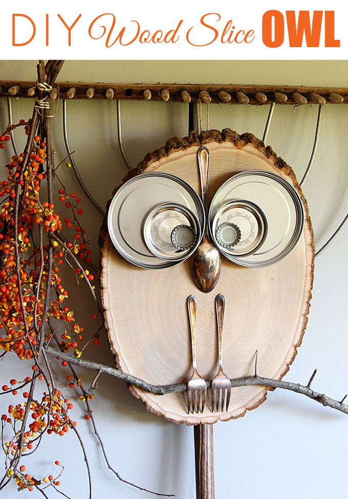 What a hoot! This adorable owl is a super QUICK and EASY DIY wood slice project for fall home decor or any time of the year. A ten minute craft for kids.                                                                                                                                                                                 More