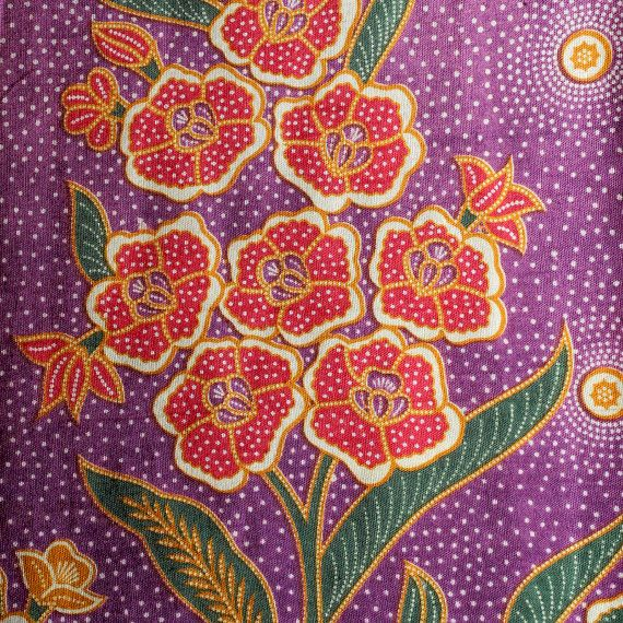 Bright Floral Traditional Indonesian Vintage Batik By