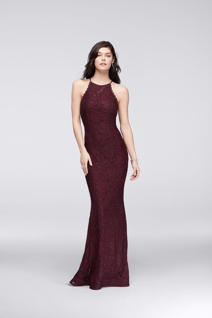 Deep burgundy hues are the it color this prom season. Allover Lace Halter Dress with Crystal Beading by Betsy & Adam available at David's Bridal