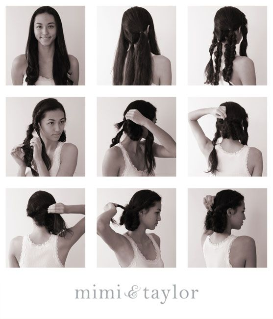 1. start with clean smooth hair  2. divide hair into 4 section  3. fishtail braid each section  4. loosen fishtail braids so it looks soft and messy  5. lightly gather back braid, twist upward and back then secure with pins  6. over lap the braids to create definition  7. twist two front sides over lapping the back braids