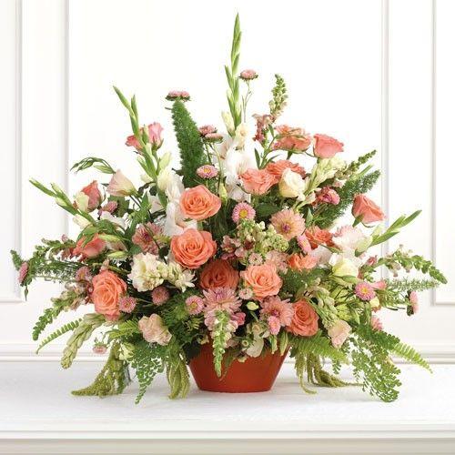 Gladiolus Wedding Arrangements | Peach Rose and Gladiolus Centerpiece - Centerpieces