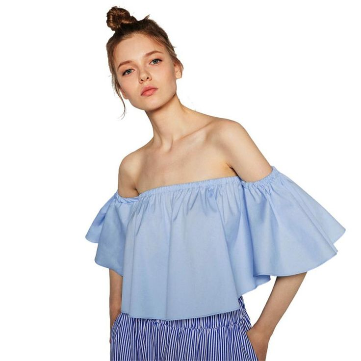 2016 Sexy Off Shoulder Blouse Women Flare Sleeve Strapless Tops Summer Blouses 2016 Women's Casual Loose Short Shirts Blusas
