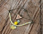 Apach - Bracelet Wood + Cotton+ Metal Graphic - Boho Colorfull available in various color on Etsy - by Wild Cloud #boho #hippie #bracelet #wildcloud