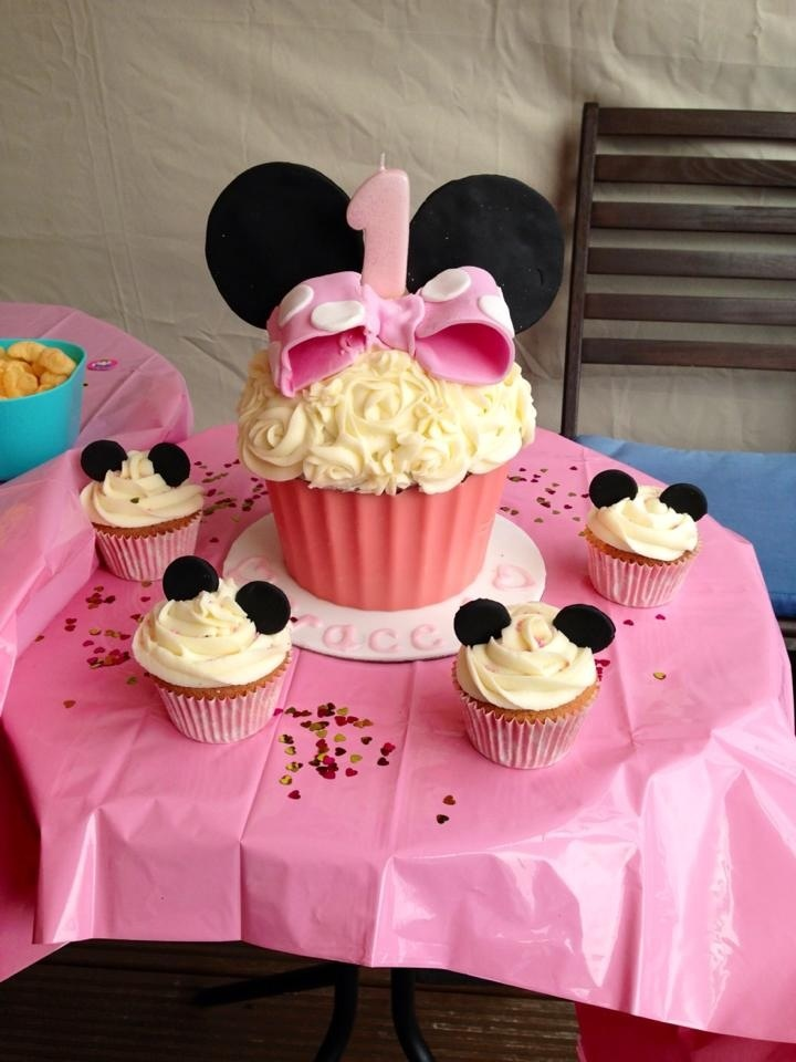 Minnie Mouse Giant Cupcake for baby girls 1st birthday