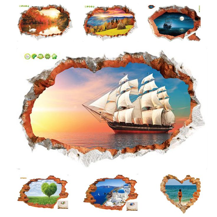 Sea Wall Sticker Sunset Boating Bedroom Poster House Door Quarto Mural Wall Decals Home Decor Free Shipping