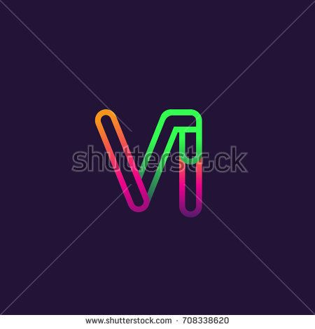 initial logo letter VI, linked outline rounded logo, colorful initial logo for business name and company identity.