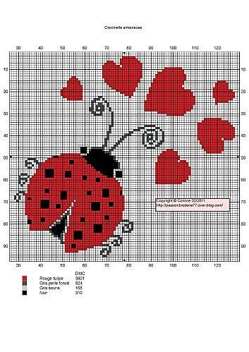 Lady Bug and Hearts Free Cross Stitch Chart Needlepoint Pattern