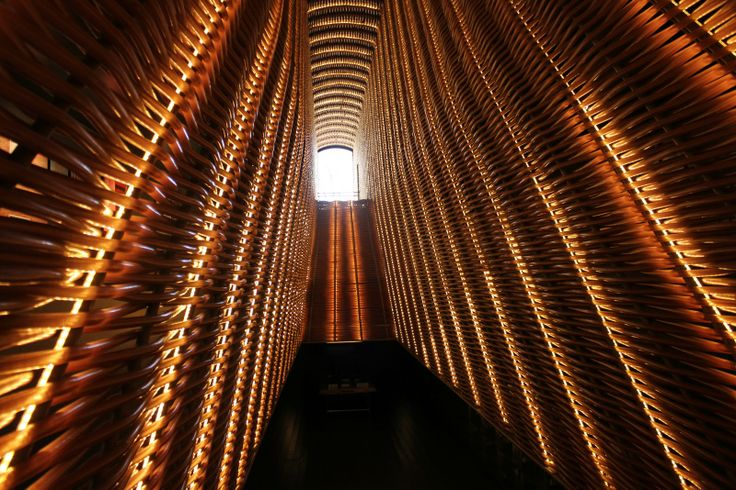 """Cineteca Matadero-Madrid: structure made of chestnut wood, and covered with LED, architects Churtichaga+Quadra-Salcedo. a very interesting lighting project winner of the 2013 """"Lamp Lighting Award"""""""