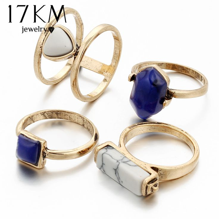 17KM Vintage 4 PCS Ring Set Punk Silver Color Stone Rings For Women/Men Bead Finger Gold Color Ring 2016 Bohemian Midi Ring Set