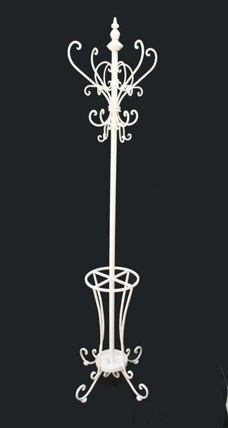 Ivory Metal HAT AND COAT STAND Very pretty shabby / chic umbrella stand | eBay £65