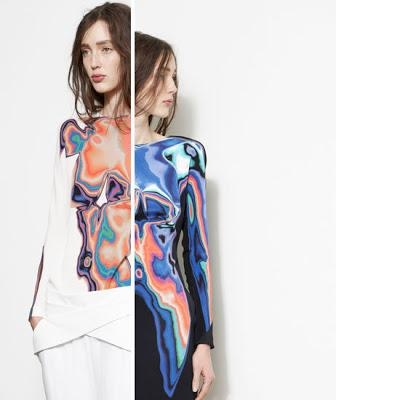 DION LEE: psychedelic printings awere derived from photographs of the human body taken with a thermal image camera, which were then distorted to appear like topographic maps....