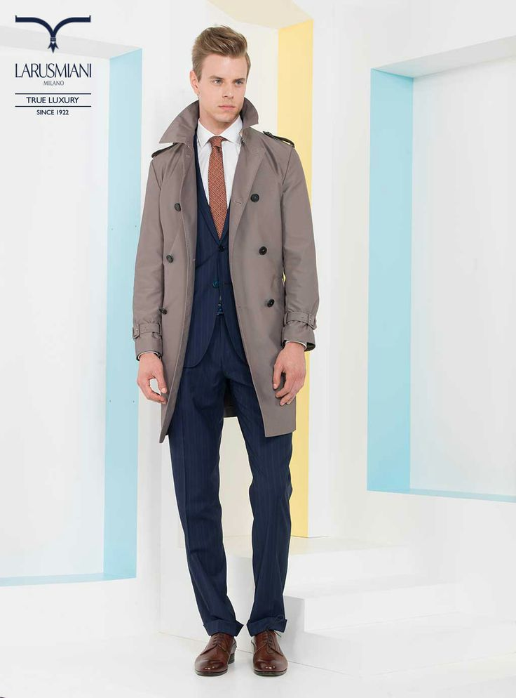 Double-breasted trench with leather details - Wool/cashmere handmade striped suit - Handmade cotton shirt  - Handmade seven-fold micropattern silk tie - Handmade shaded leather shoes   #SS2014 #fashion #style #menswear #luxury #larusmiani www.larusmiani.it